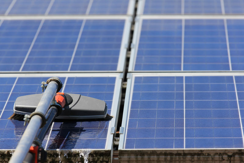 Solar Panel Cleaning With Brish